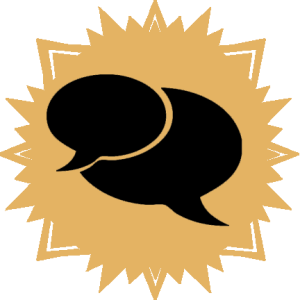 yellow sunburst icon containing chat bubble indicating conversation