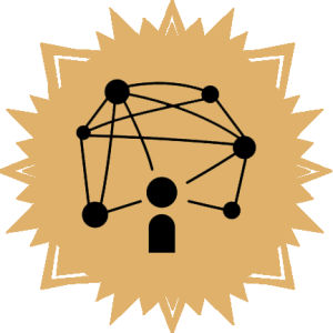 yellow sunburst with silouette of person integrated into a network, representing a scholar making connections